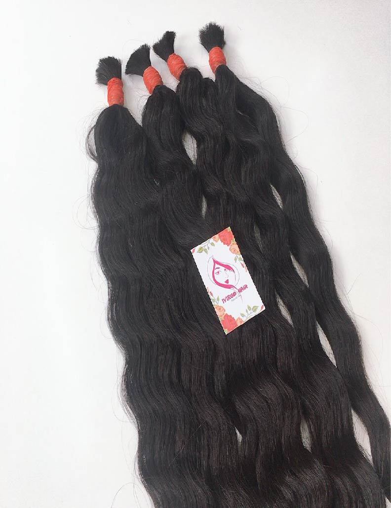 24 inches natural wavy bulk natural color