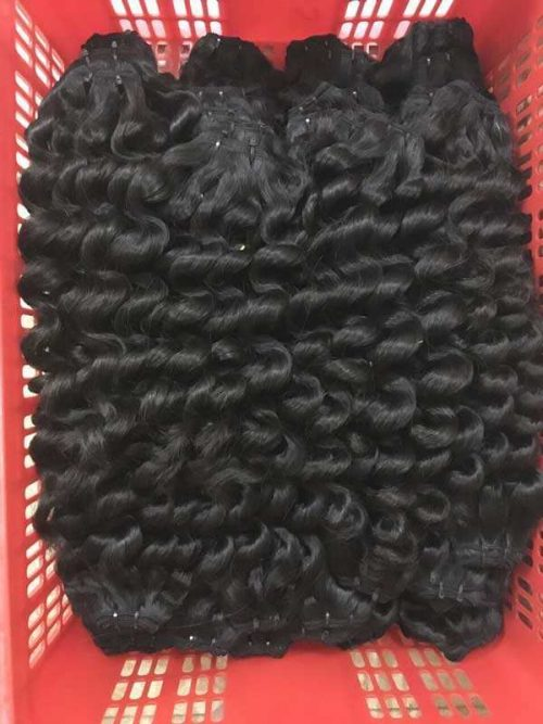 Deep wavy double euro machine weft hair 24 inches