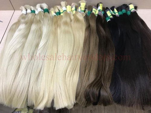 Blonde hair, brown hair and black hair – straight bulk